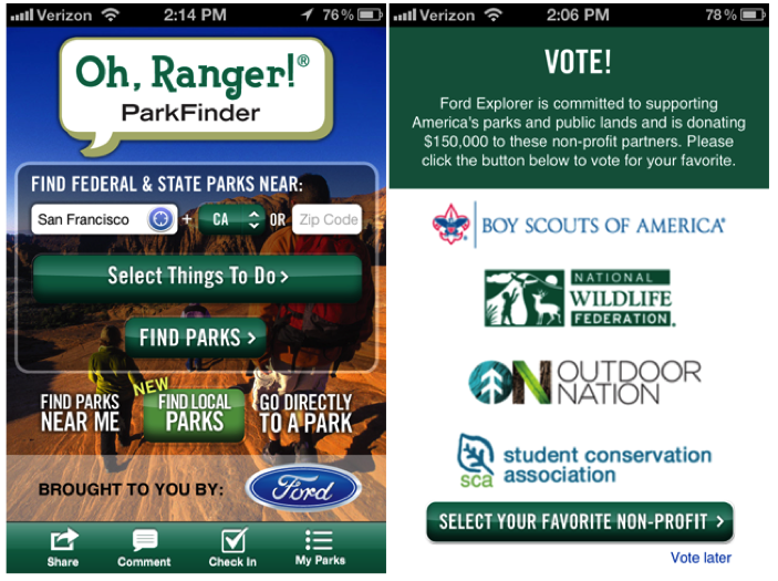 Oh, Ranger! ParkFinder mobile app home screen and voting screen