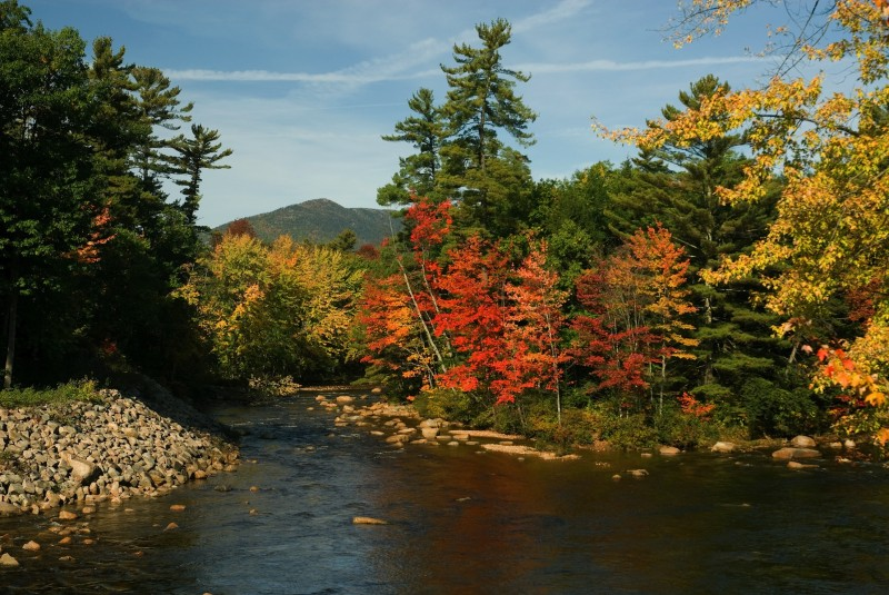 View of the Swift River from the Kancamagus Highway in New Hampshire's White Mountain National Forest during peak autumn colors.