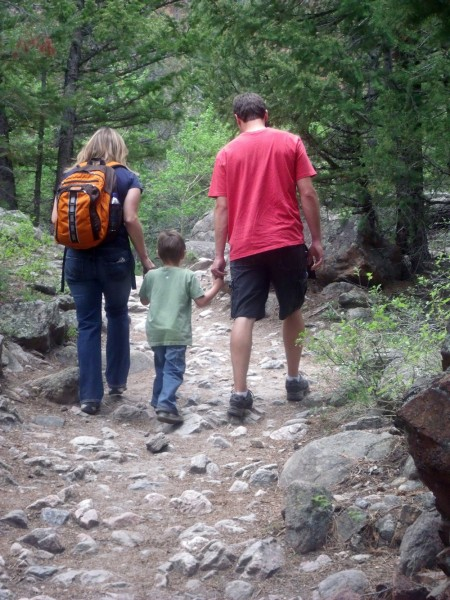 Family hiking in Rocky Mountain National Park. NPS photo by John Marino