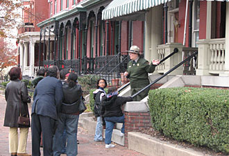 Taking a tour of the Walker home with a ranger is the centerpiece of a park visit. (NPS photo)