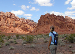 A hiker enjoys the wilderness at Lake Mead National Recreation Area in Nevada. NPS photo.