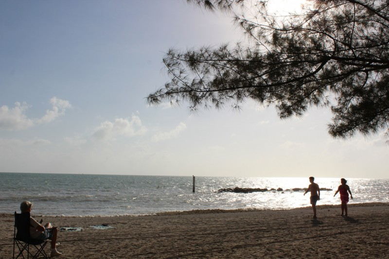 Visitors enjoy the beautiful beaches that surround Fort Zachary Taylor.