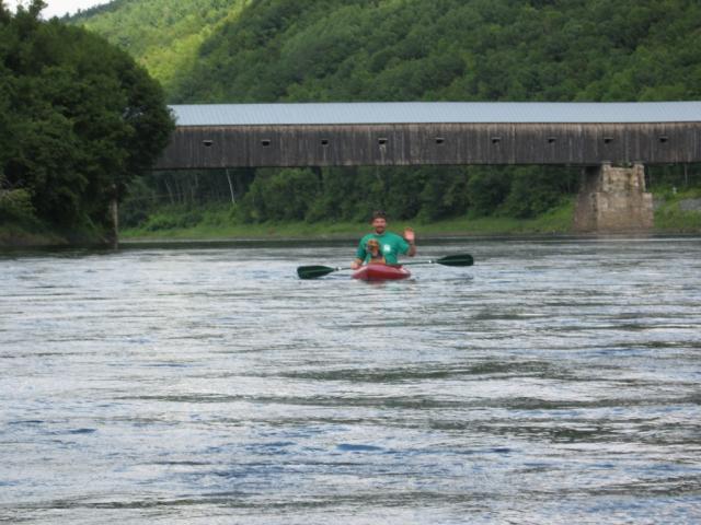 Wilgus, kayaker and covered bridge