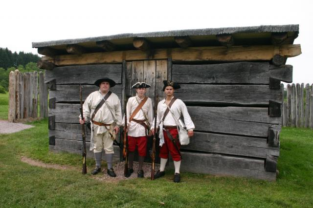 Living history demonstrators at Fort Necessity National Battlefield