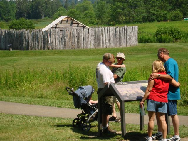 Visitors explore Fort Necessity National Battlefield