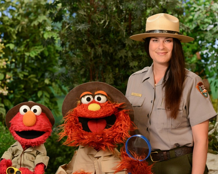 Sesame Street Characters Elmo and Murray visit with at park ranger from Grand Canyon National Park.