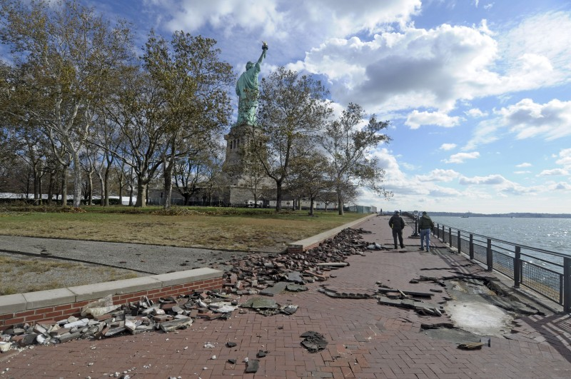 Superstorm Sandy damage on Liberty Island by Kevin Daley, NPS