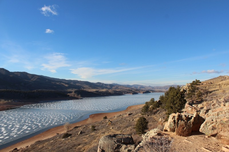 A northward view over Horsetooth Reservoir, CO. Photograph by Kacey Herlihy