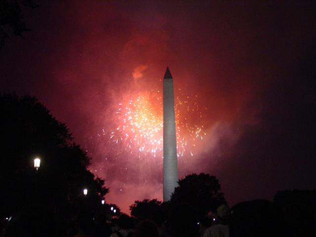 Washington Monument with Fireworks