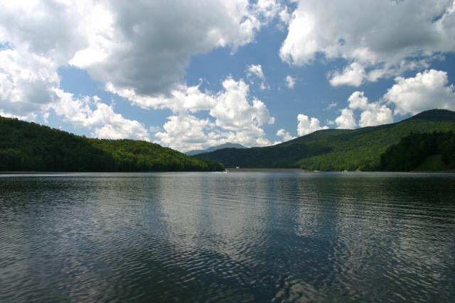 Waterbury; lake, hills and sky